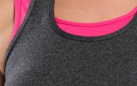Tiger Lily Tank Dark Heather Grey Hot Pink Strap