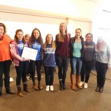 GWArc CEO Roz Rubin with members of Brandeis Buddies.