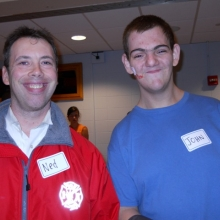 Ned Bjorkman (left) and John Schread (right) smile for the camera at the Brandeis Winter Carnival in January 2013.