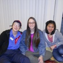 GWArc participant Kristina Smith enjoying Brandeis Buddies with two student volunteers