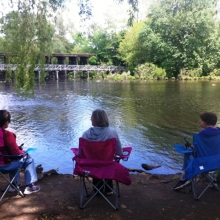 Participants in GWArc's Recreation Program enjoyed fishing along the Charles River in Waltham in May.