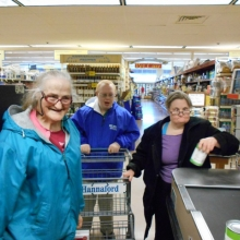 Participants in GWArc's EPT program shop for food to donate to a local food pantry. Funds were donated by members of the Waltham Rotary Club.