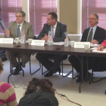 Left to right, State Representatives Tom Stanley, John Lawn and Jonathan Hecht join Roz Rubin at a Legislative Town Meeting with GWArc program participants at GWArc's EPT site at 31 Woodland Rd.