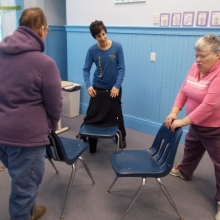 Day Education participants enjoy monthly Chair Yoga with instructor Beth Gold-Bernstein (Brahmi) of TriYoga Boston.