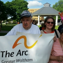 GWArc participants were excited to visit Waltham Common on 5/29/15 for Fox News 25's Zip Trip to Waltham! Participants Brian Doucette (left) and Michelle Bourgeois (right) hold GWArc's banner with Katie Hoenigke, Director of Day Habilitation (center).
