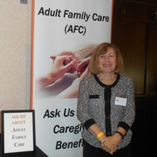 Barbara Dunker, R.N., AFC Program Director, talked with event attendees about the Adult Family Care program at GWArc.