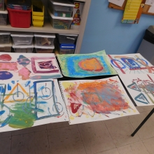 Art work is set to dry after an arts session with Artist Dan Dressler.