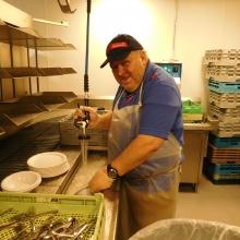 Carlton works at Sherman Dining Hall at Brandeis University during the academic year.