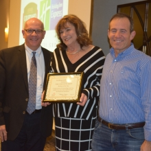 Park Lodge Hotel Group receives GWArc's Business of the Year Award. Left to right, Bob Clement, PLHG President and CEO; Roz Rubin, GWArc CEO; and Keith Gilbert, Managing Partner.