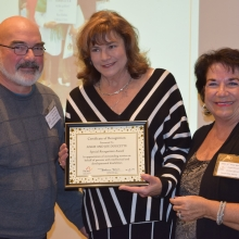 Angie and Joe Doucette receive GWArc's Special Recognition Award for their efforts to fundraise and support the agency in numerous ways. Left to right: Joe Doucette, Roz Rubin, GWArc CEO and Angie Doucette.