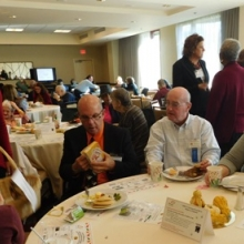 Board Members Bob Clement and John Peacock enjoy each other's company at Harvest Breakfast.