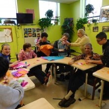 GWArc welcomes twenty McDevitt Middle School students to work with participants on an art project!