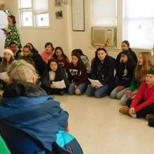 McDevitt Middle School 8th grade students and teachers spread lots of cheer with holiday songs and  performances at Chestnut Street and Woodland Road in December.