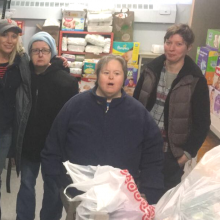 CBDS participants and staff deliver diapers to Diaper Depot, a diaper distribution center for needy families at Christ Church in Waltham.