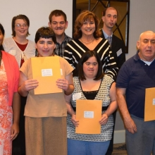 Watch City Self Advocates gather after receiving the Advocates of the Year Award at our Annual Meeting.