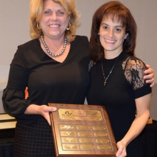 Leah Battaglino Cosby (left) presents the 3rd Annual John L. Battaglino Award for Excellence to Marisol Hernandez at our Annual Meeting.  John Battaglino was President and a member of GWArc's Board of  Directors, and a friend and supporter of GWArc for many years.