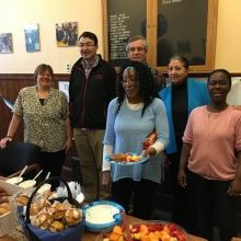 Staff at Chestnut Street enjoy an appreciation breakfast on June 7, 2017.