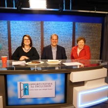 Waltham Mayor Jeannette McCarthy (right) joins Kelly Hill, GWArc Board member, and Rick Pizzi of Pizzi Farms to host the live TV auction.