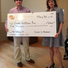 GWArc CEO Roz Rubin is presented a check from the Foundation for MetroWest.