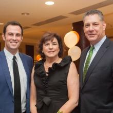 GWArc CEO Roz Rubin with gala emcee Chris McKinnon (l), WBZ-TV News Anchor, and honoree Peter Koutoujian, Middlesex County Sheriff.