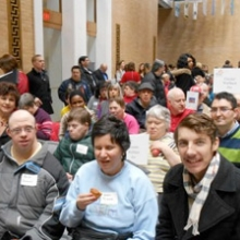GWArc participants visit State House in March for Arc of Massachusetts Legislative Day.