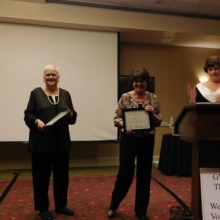Bernadette Bourque and Marilyn Lefort were recognized as Volunteers of the Year at GWArc's Annual Meeting, November 2015.  Marilyn and Bernadette have volunteered their time and talent teaching line dancing and attending dances and events at GWArc for many years.