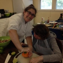 Reva Haselkorn, Program Coordinator and Chef Instructor for Healthy Waltham, instructs a cooking class.