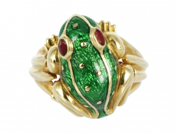 David Webb Enamel Frog Ring
