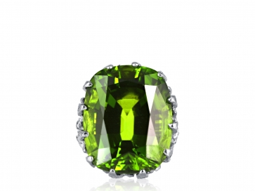 35.23 Carat Peridot Platinum and Diamond Ring